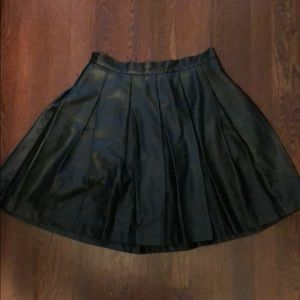 French Connection Vegan Leather Pleated Skirt